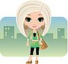 Векторный клипарт: Мультяшный женщина в городе