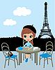 Hübsches Mädchen im Pariser Cafe