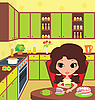Pretty girl eats pie | Stock Vector Graphics