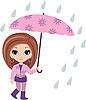 Woman cartoon with umbrella | Stock Vector Graphics