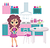 Vector clipart: Cartoon girl on kitchen bears teapot