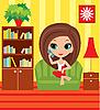 Девушка мультяшный говорит по телефону | Векторный клипарт