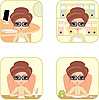 Vector clipart: Business woman in office. Four icons