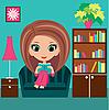 Векторный клипарт: Девушка мультяшный читает книгу на диване.