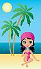 Векторный клипарт: Красивая девушка сидит на пляже