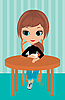 Vector clipart: Pretty girl drinks coffee