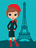 Pretty girl in the Paris | Stock Vector Graphics
