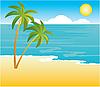 Векторный клипарт: Пляж с пальмами