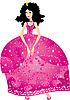 Векторный клипарт: Принцесса в розовом платье