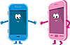 Векторный клипарт: Два телефона - розовый и голубой