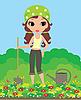 Векторный клипарт: Девушка садовник