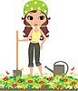 Векторный клипарт: Девушка садовника