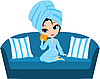 Woman cartoon in towel on sofa. | Stock Vector Graphics