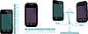 Векторный клипарт: Сравнительные характеристики телефонов.