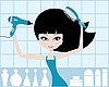 Vector clipart: Pretty girl dries hair