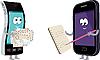 Векторный клипарт: Два смартфонов с конвертами и ноутбуков.