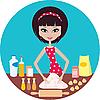 Vector clipart: Young woman prepares dough