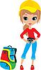 Векторный клипарт: Красивая девушка с камерой