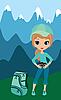 Векторный клипарт: Красивая девушка в горах турист с фотоаппаратом