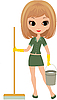 Girl the cleaner | Stock Vector Graphics
