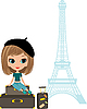Pretty girl on suitcase near Eiffel Tower | Stock Vector Graphics