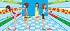 Векторный клипарт: Женщины выбирают овощи в супермаркете