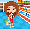 Woman in supermarket | Stock Vector Graphics