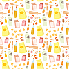 Seamless food products pattern | Stock Vector Graphics