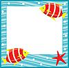 Vector clipart: Framework for photos. Sea theme. Fishes.