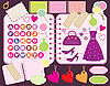 Vector clipart: Scrapbook elements with letters and clothes.