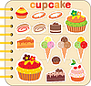 Scrapbook elements with cupcakes | Stock Vector Graphics