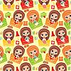 Vector clipart: Seamless girls cartoon pattern.
