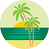 Vector clipart: Tropical beach with palm trees.