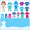 Vector clipart: Paper doll with set of winter clothes