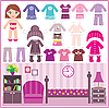 Vector clipart: Paper doll with set of clothes and room