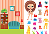 Vector clipart: Paper doll with clothes and room