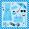 Fashion set in blue tones | Stock Vector Graphics