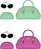Vector clipart: Female bags, beauticians and sun glasses