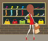 Vector clipart: Woman at shop-front.