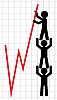 Vector clipart: Symbolical image of lifting of economic indicators