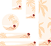Vector clipart: Banner with palm trees and woman
