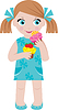 Little girl with cupcakes | Stock Vector Graphics