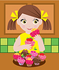 Маленькая девочка в кухня с кексами | Векторный клипарт