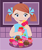 Little girl in kitchen with cupcakes | Stock Vector Graphics