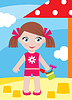 Mała dziewczynka w piaskownicy z jednonaczyniowe | Stock Vector Graphics