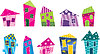 Vector clipart: Set of the bright, painted cartoon houses