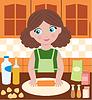 Женщина готовит тесто | Векторный клипарт