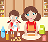 Mother with the daughter cook dough | Stock Vector Graphics