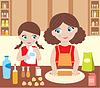 Мать с дочерью повара теста | Векторный клипарт