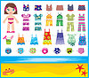 Vector clipart: Paper doll with summer set of clothes